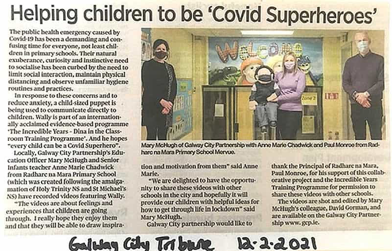 Covid Superheros with Wally in the Galway City Tribune